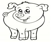 cochon souriant animal de la ferme dessin à colorier