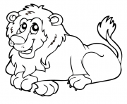 Coloriage lion animaux sauvages de la jungle