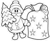 pere noel avec un sapin et sac de cadeaux dessin à colorier