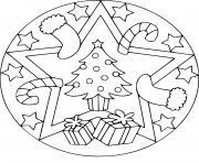 mandala noel sapin cadeaux dessin à colorier