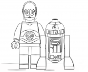 Coloriage lego star wars r2d2 and c3po