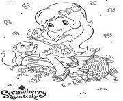 fraisinette trouve un lapin dessin à colorier