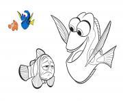 Dory et le papa de nemo dessin à colorier