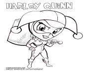 Coloriage harley quinn cute cartoon dc entertainment