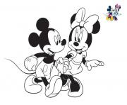 Coloriage disney minnie et mickey se baladent