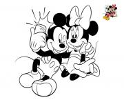 selfie disney mickey et minnie dessin à colorier