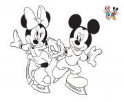Coloriage disney minnie et mickey patinent