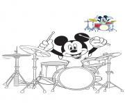 mickey mouse drum batterie dessin à colorier