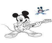 mickey mouse guitare electrique musique dessin à colorier
