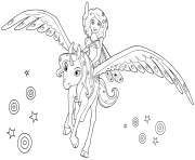 Coloriage mia and me sur sa licorne