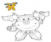 Coloriage Super Wings Donnie mode robot