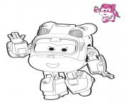 Coloriage super wings Dizzy mode robot