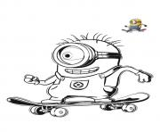 Coloriage minion sur un skate board