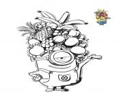 Coloriage minion avec un casque de fruits tropicals