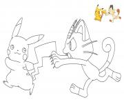 Coloriage pokemon Ash court dessin