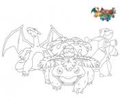 Coloriage pokemon florizarre dracaufeu tortank