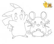 Coloriage pokemon pikachu raichu