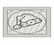 mandala noel tuque perenoel dessin à colorier