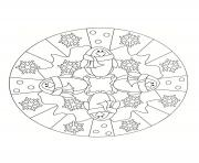 Coloriage christmas mandala with angels dessin