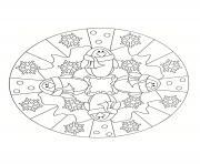 Coloriage mandala de noel couronne jouets de noel ange train par mashabr dessin