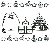 Coloriage pusheen cupcake party anniversaire fete