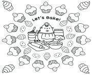 Coloriage pusheen lets bake