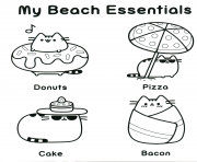 Coloriage pusheen my beach essentials