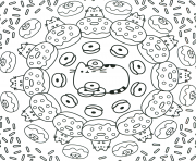Coloriage pusheen the cat donuts pattern