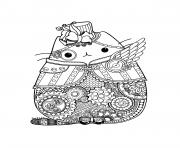 Coloriage pusheen adult complex zentangle