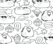 Coloriage Pusheen Unicorn Arc en ciel pattern dessin