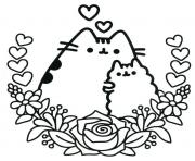 Pusheen the Cat and his friend dessin à colorier