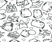 Coloriage Pusheen Adulte Etoiles