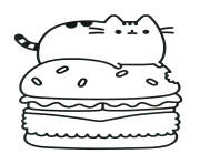 Coloriage Pusheen Hamburger Food