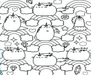 Pusheen Unicorn Arc en ciel pattern dessin à colorier