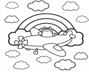 Coloriage Pusheen Cat on Scooter dessin