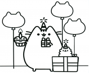pusheen the cat party dessin à colorier