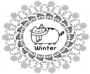 Pusheen Winter dessin à colorier