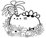 Coloriage pusheen mermaid mandala adulte dessin