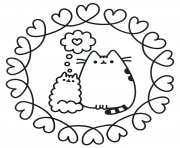 pusheen the cat en amour dessin à colorier