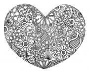 adulte coeur mandala fleurs zen stvalentin dessin à colorier
