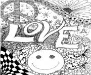 Coloriage love peace smile amour adulte