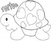 tortue avec des coeurs saint valentin dessin à colorier