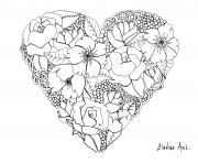 mandala elanise art flowers in a heart dessin à colorier