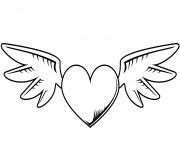 coeur avec des ailes st valentin dessin à colorier