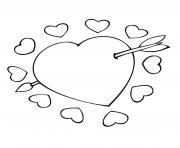 cupidon coeur avec fleche dessin à colorier