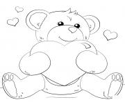 ourson teddy avec un gros coeur dessin à colorier