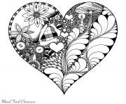 Artherapie Saint Valentin Coeur dessin à colorier