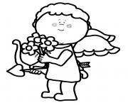 cupidon offre des fleurs pour la st valentin dessin à colorier