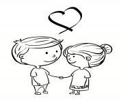 deux amoureux saint valentin dessin à colorier