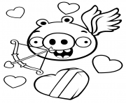 Coloriage minion pig saint valentin angrybirds